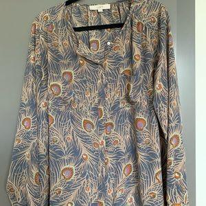 Peacock print blouse